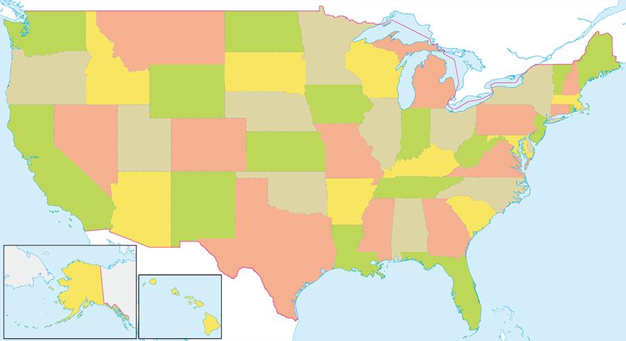 アメリカの地図・白地図 | 地図から探す
