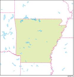 アーカンソー州の地図・白地図  ...