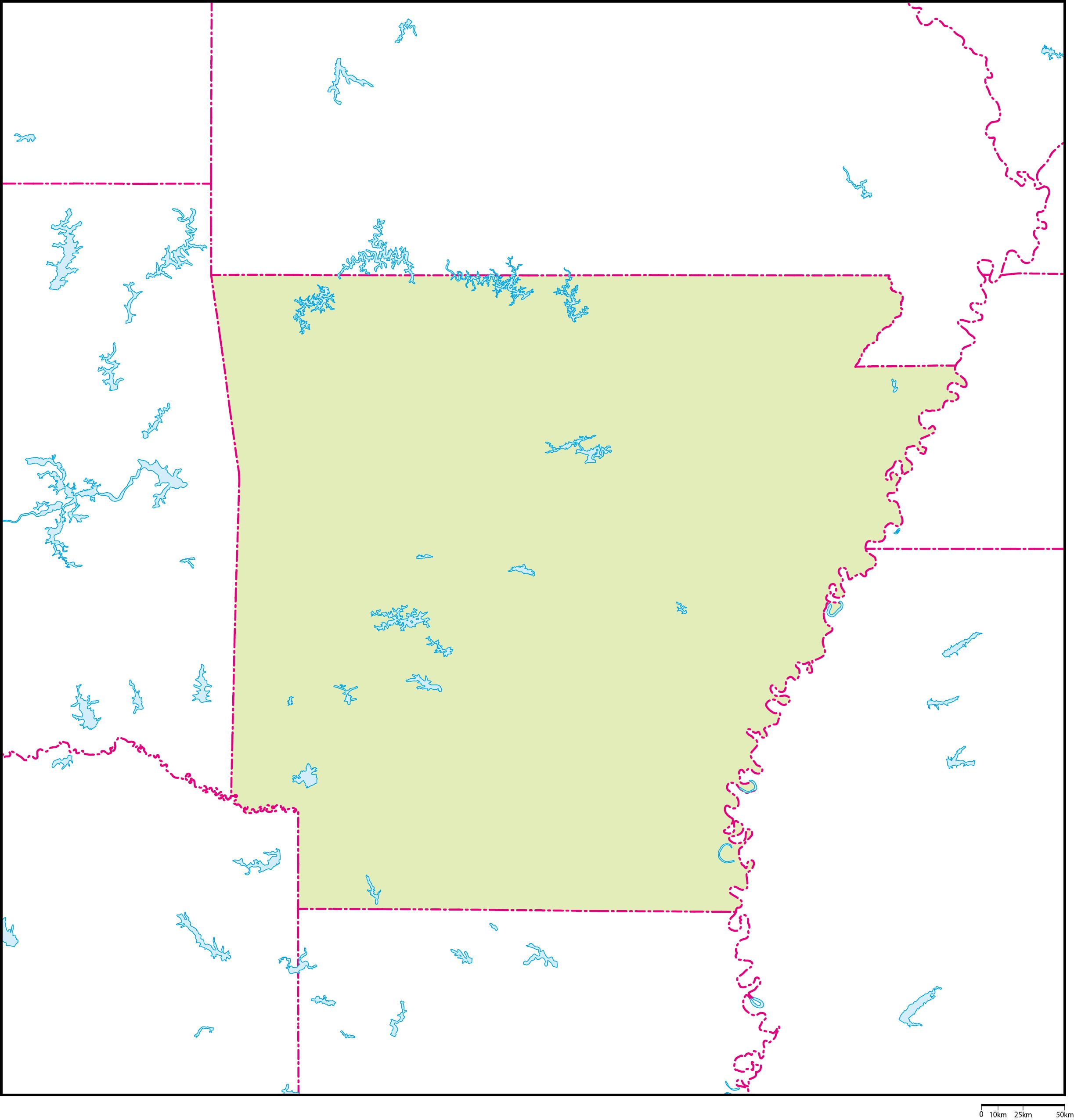 アーカンソー州地図フリーデータ