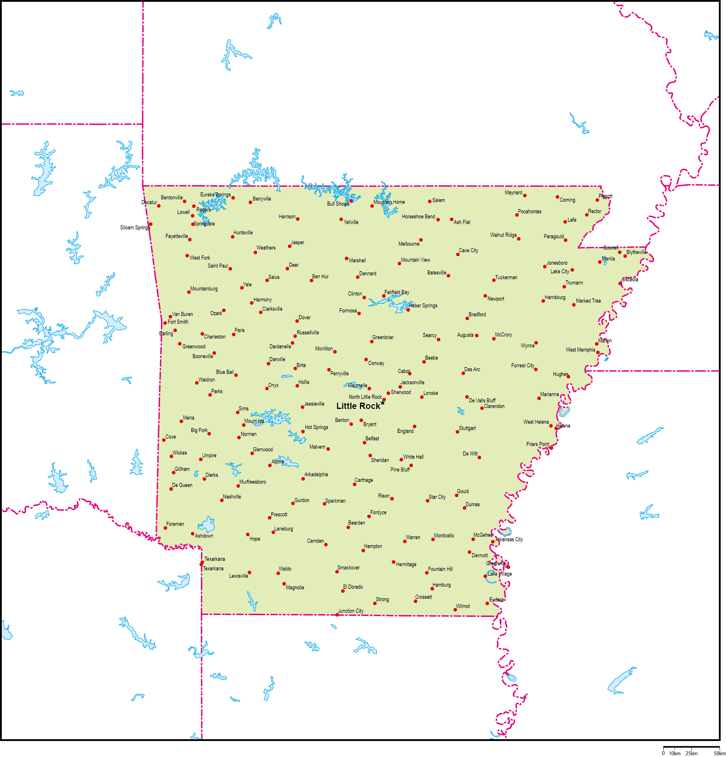 アーカンソー州地図州都・主な都市あり(英語)フリーデータ