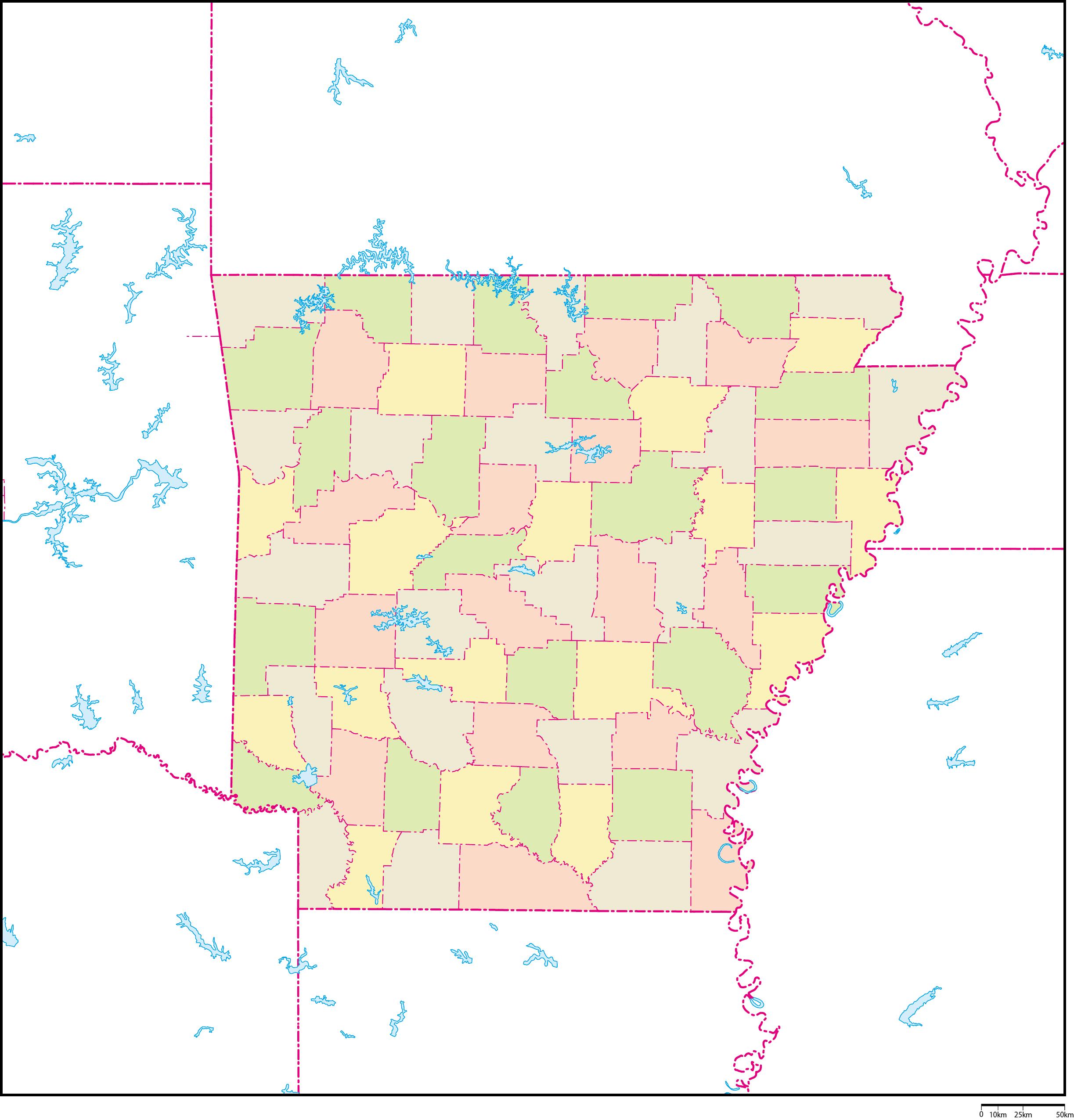 アーカンソー州郡色分け地図フリ...