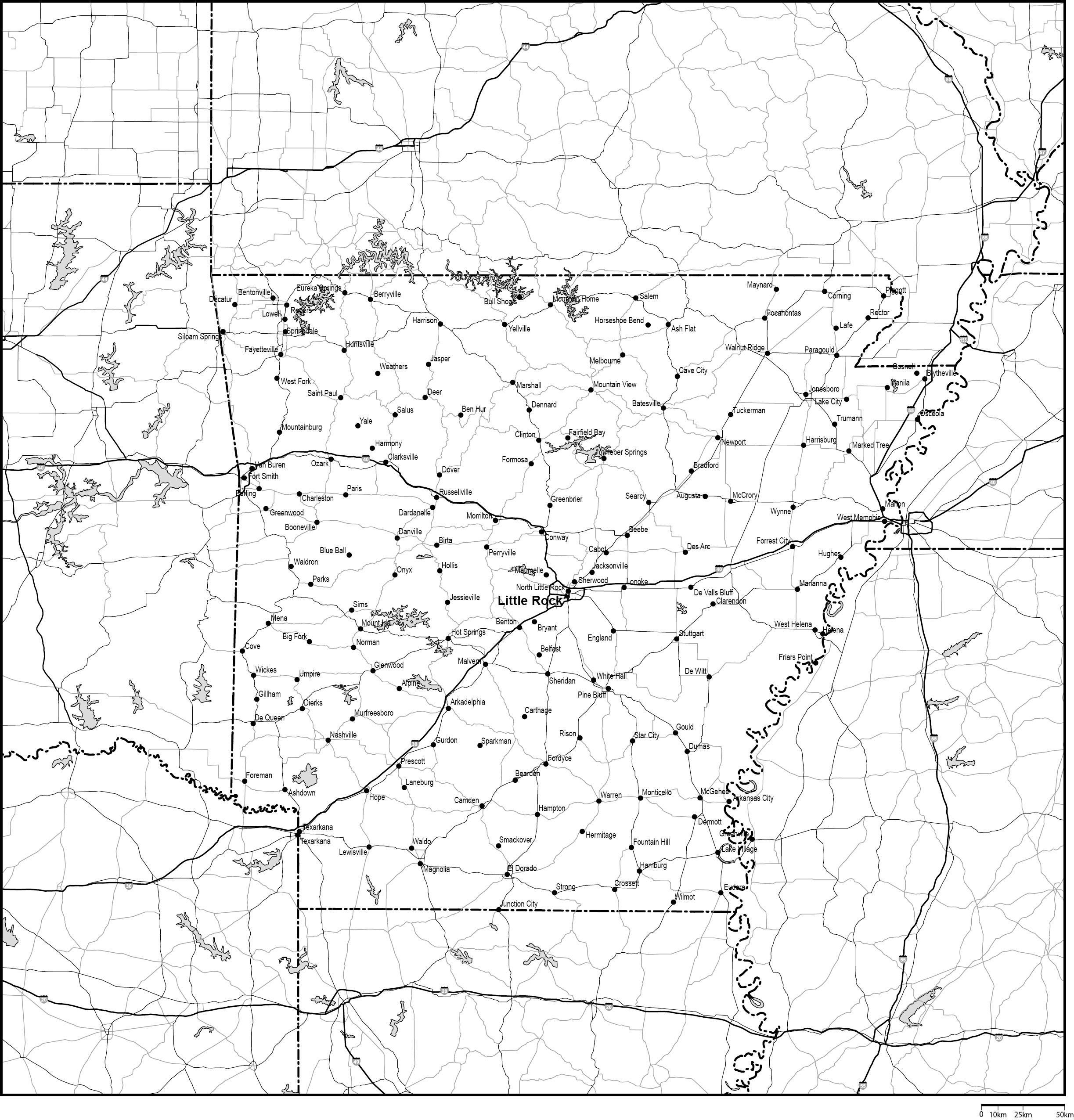 アーカンソー州白地図州都・主な...