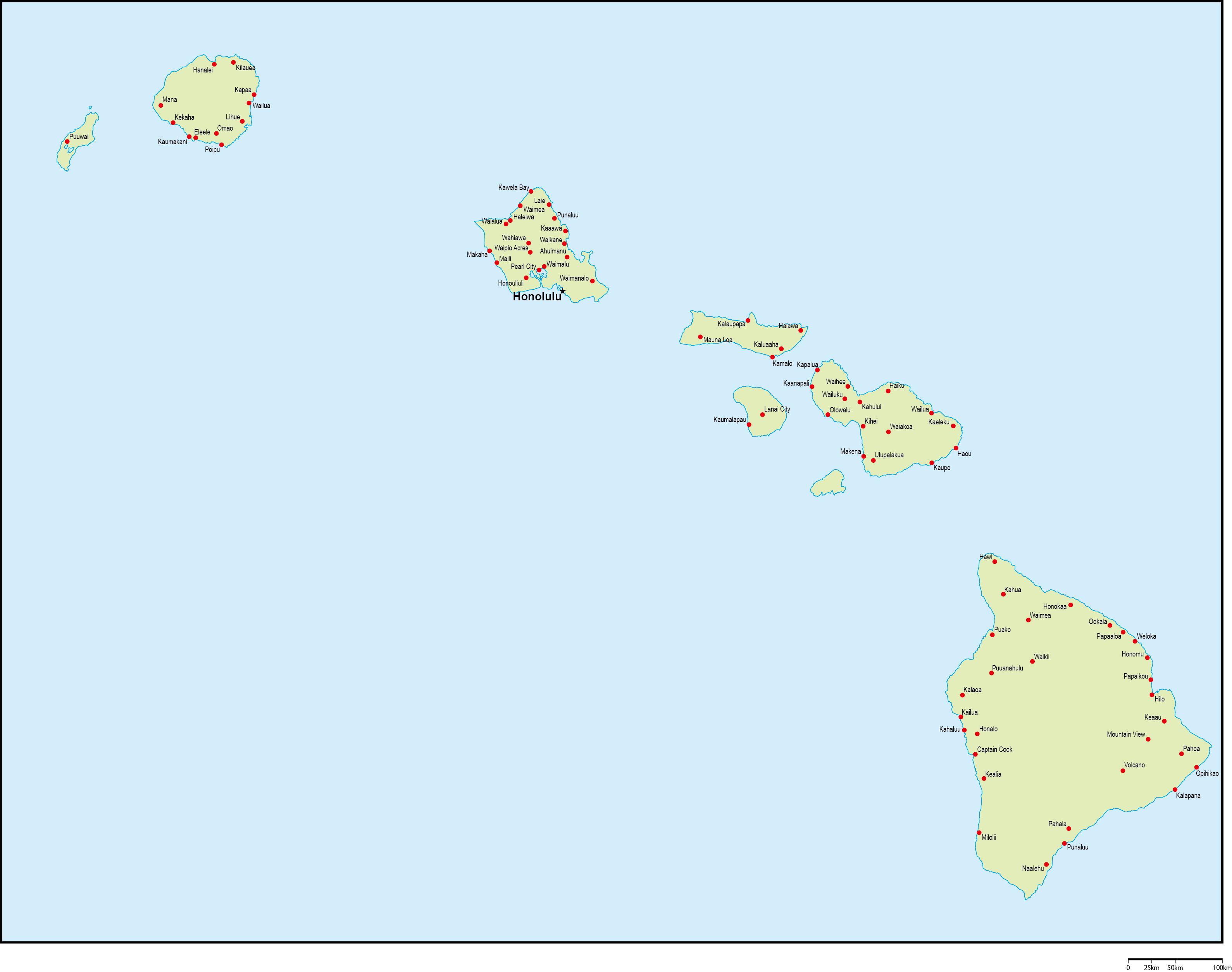 ハワイ州地図州都・主な都市あり...