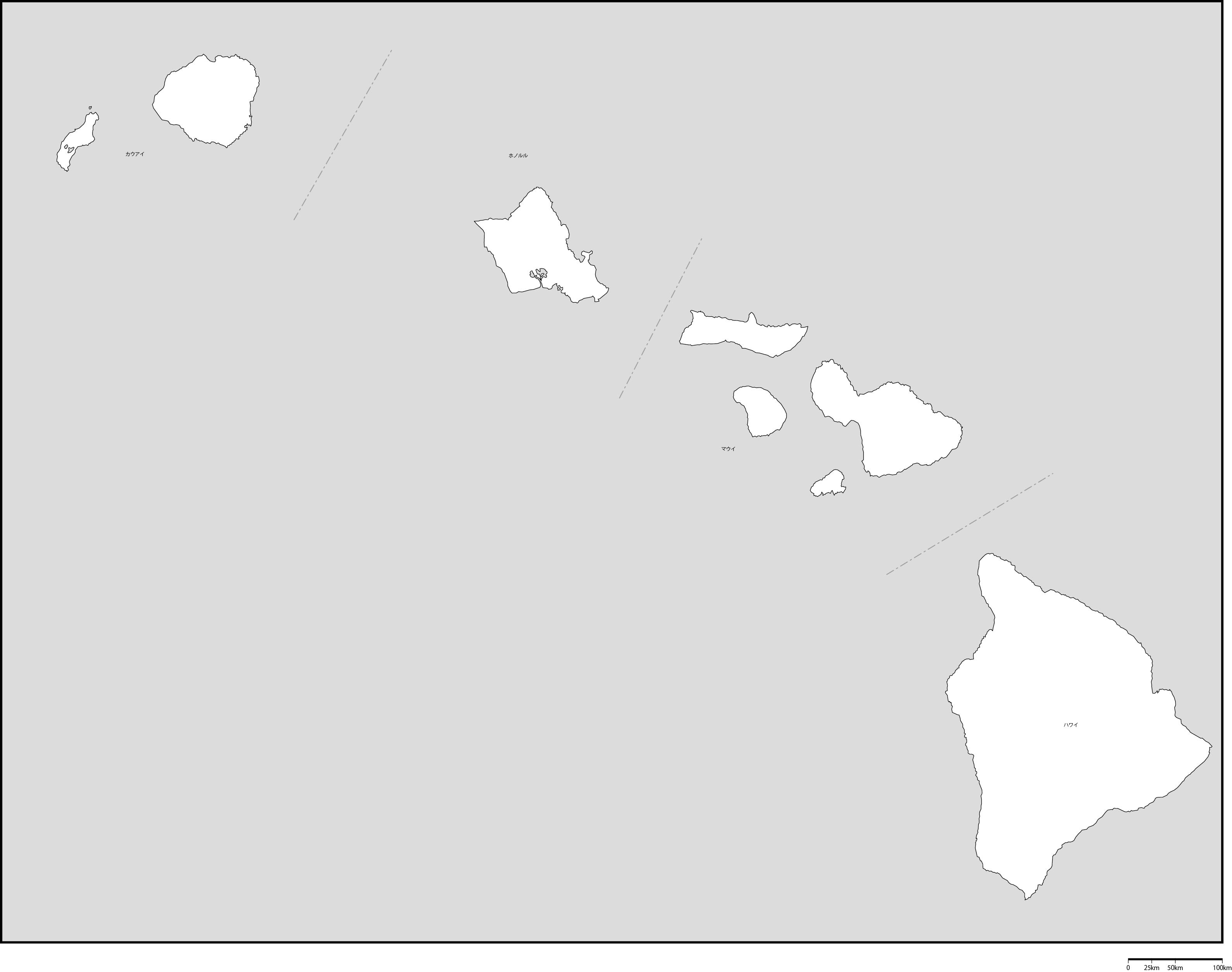 ハワイ州郡分け地図郡名あり(日...