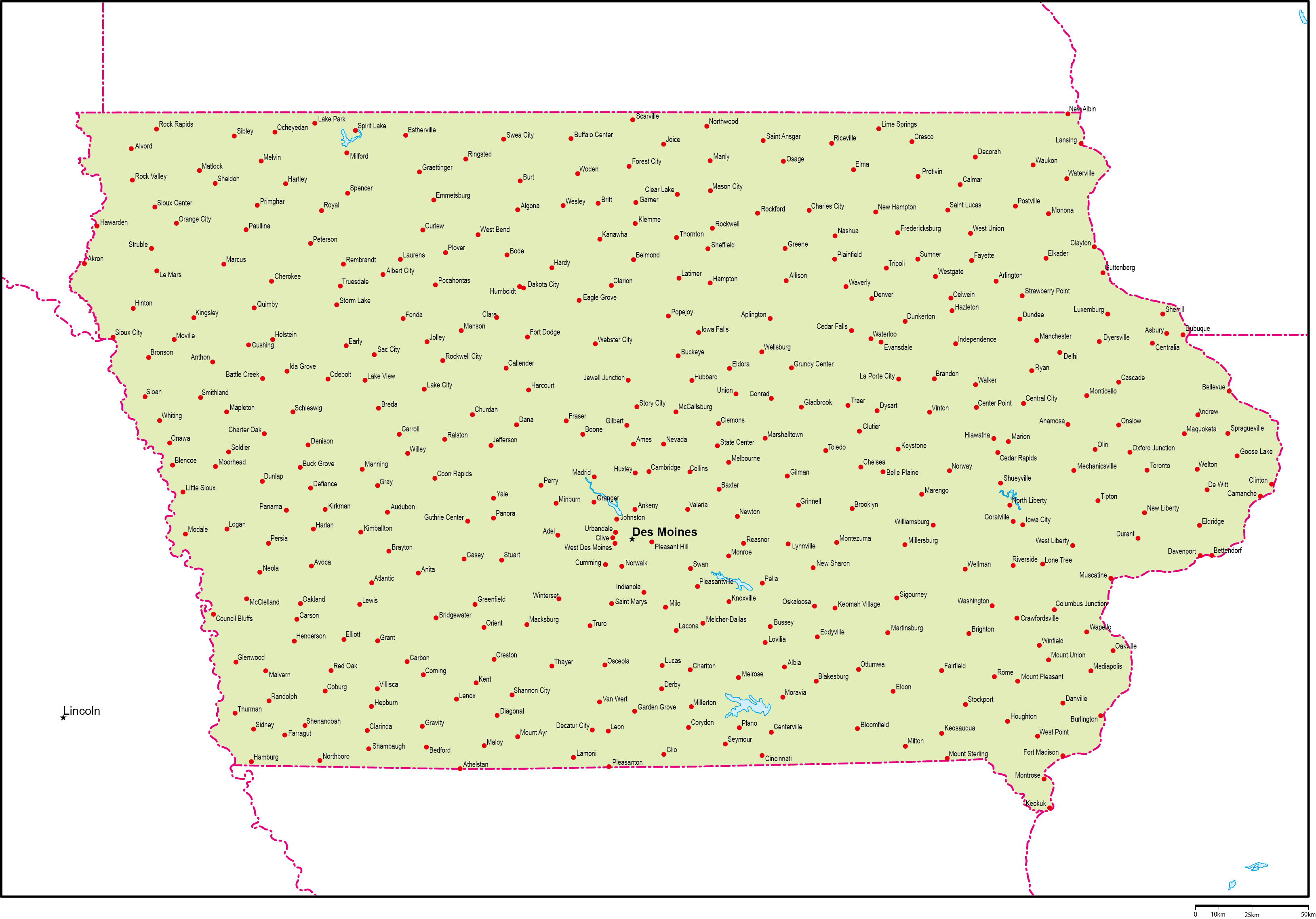 アイオワ州地図州都・主な都市あ...