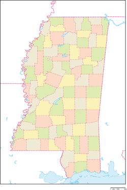 ミシシッピ州の地図・白地図 | S...