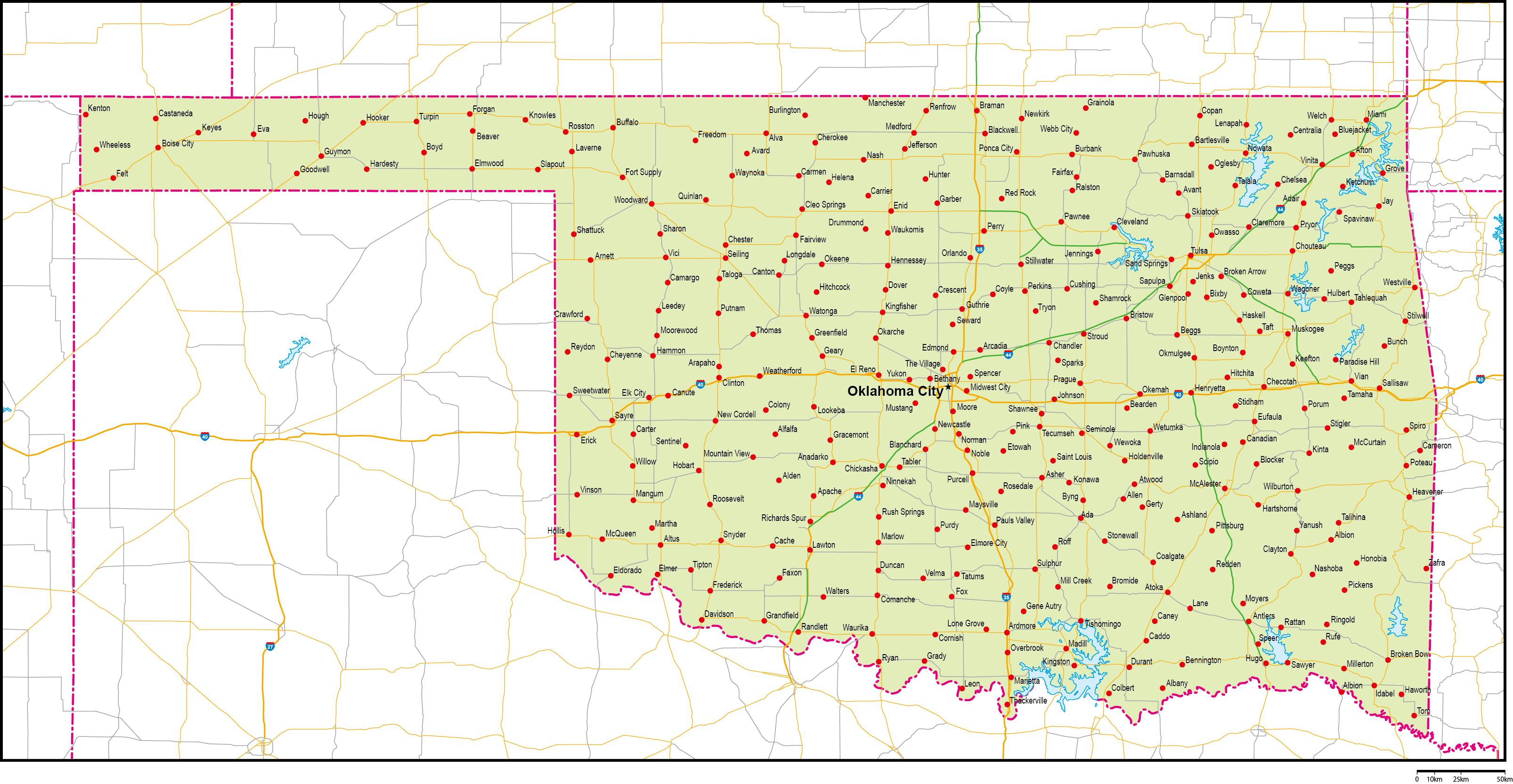 オクラホマ州地図州都・主な都市...