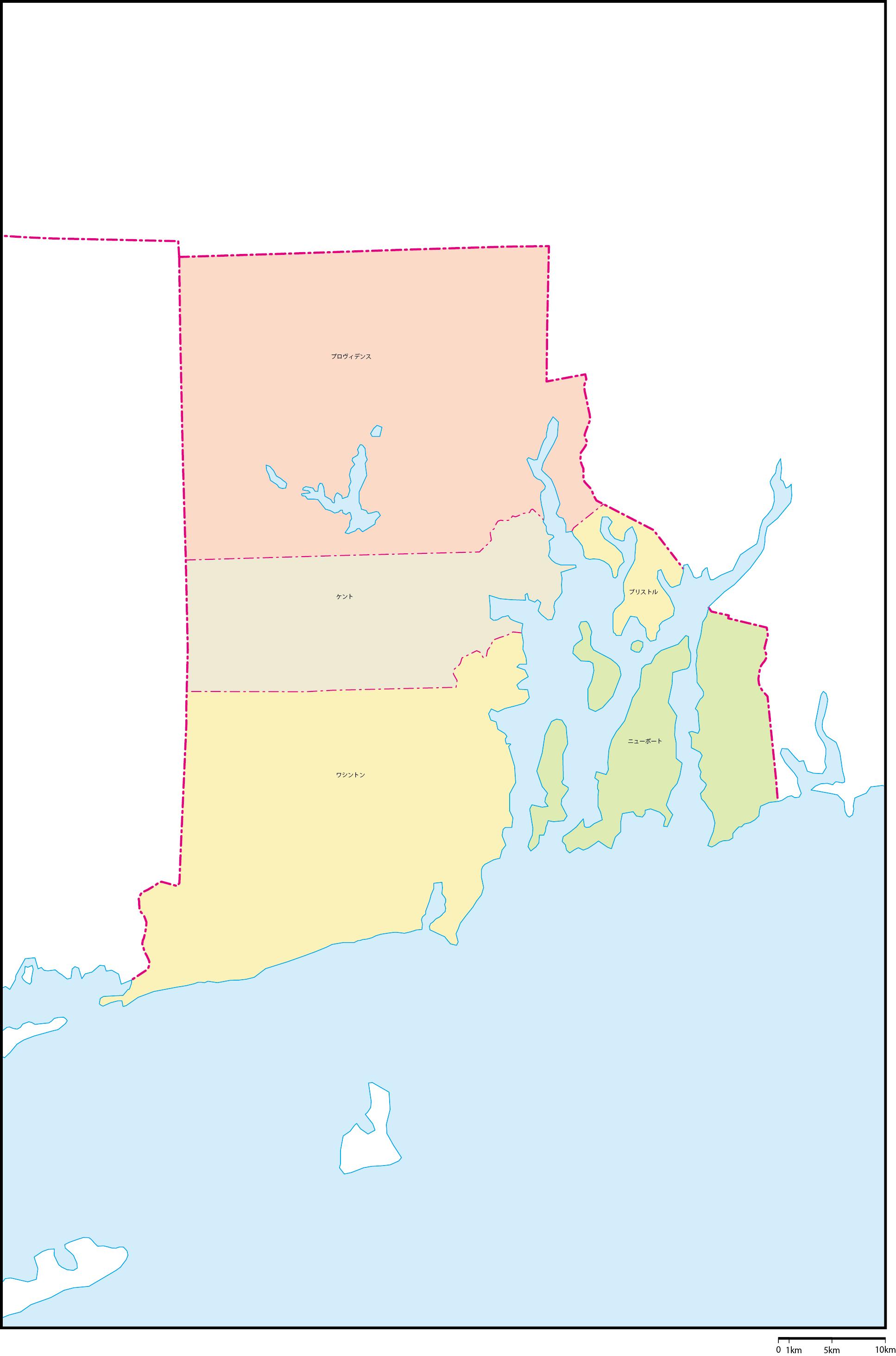 ロードアイランド州郡色分け地図...