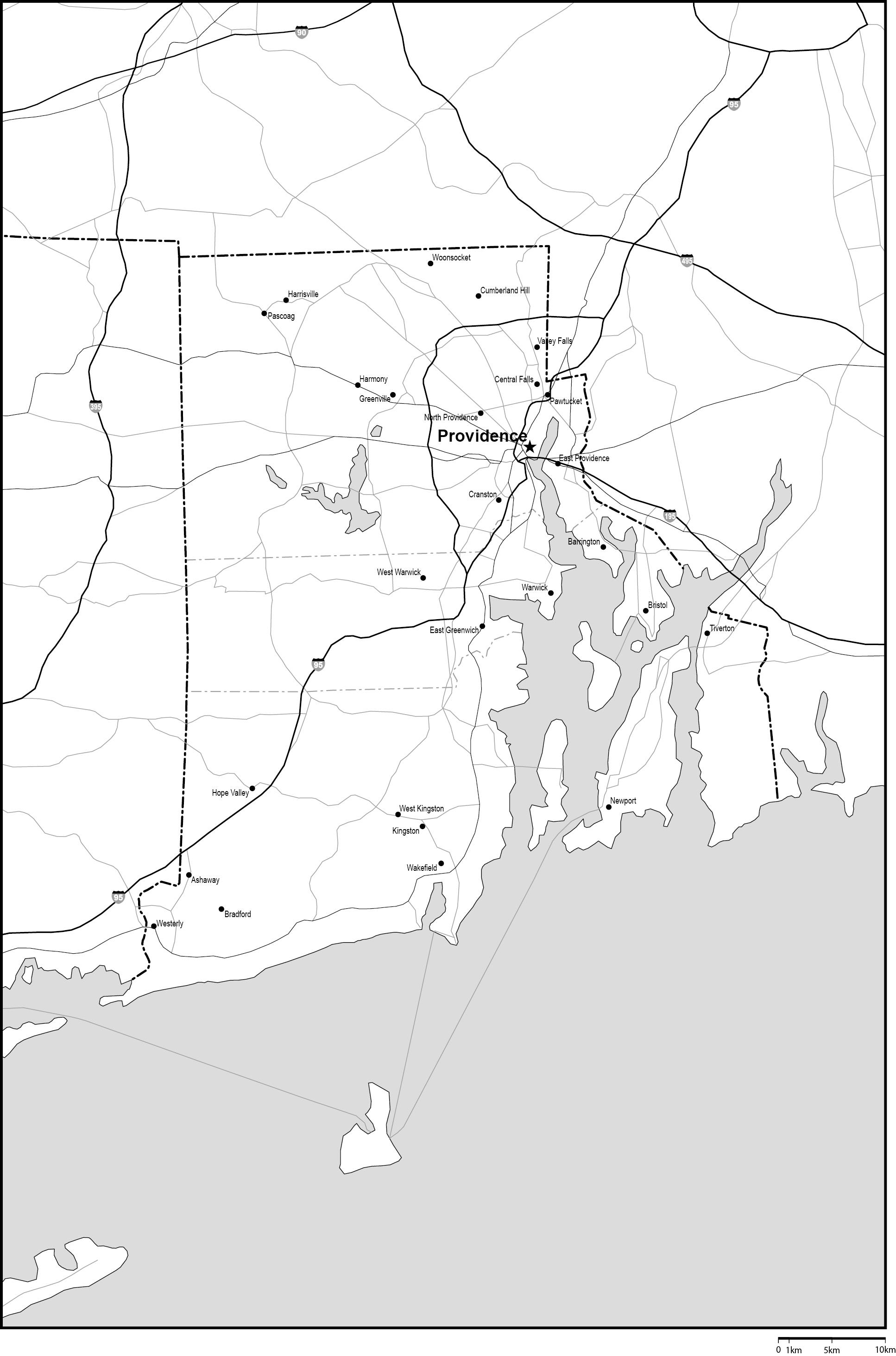 ロードアイランド州郡分け白地図...