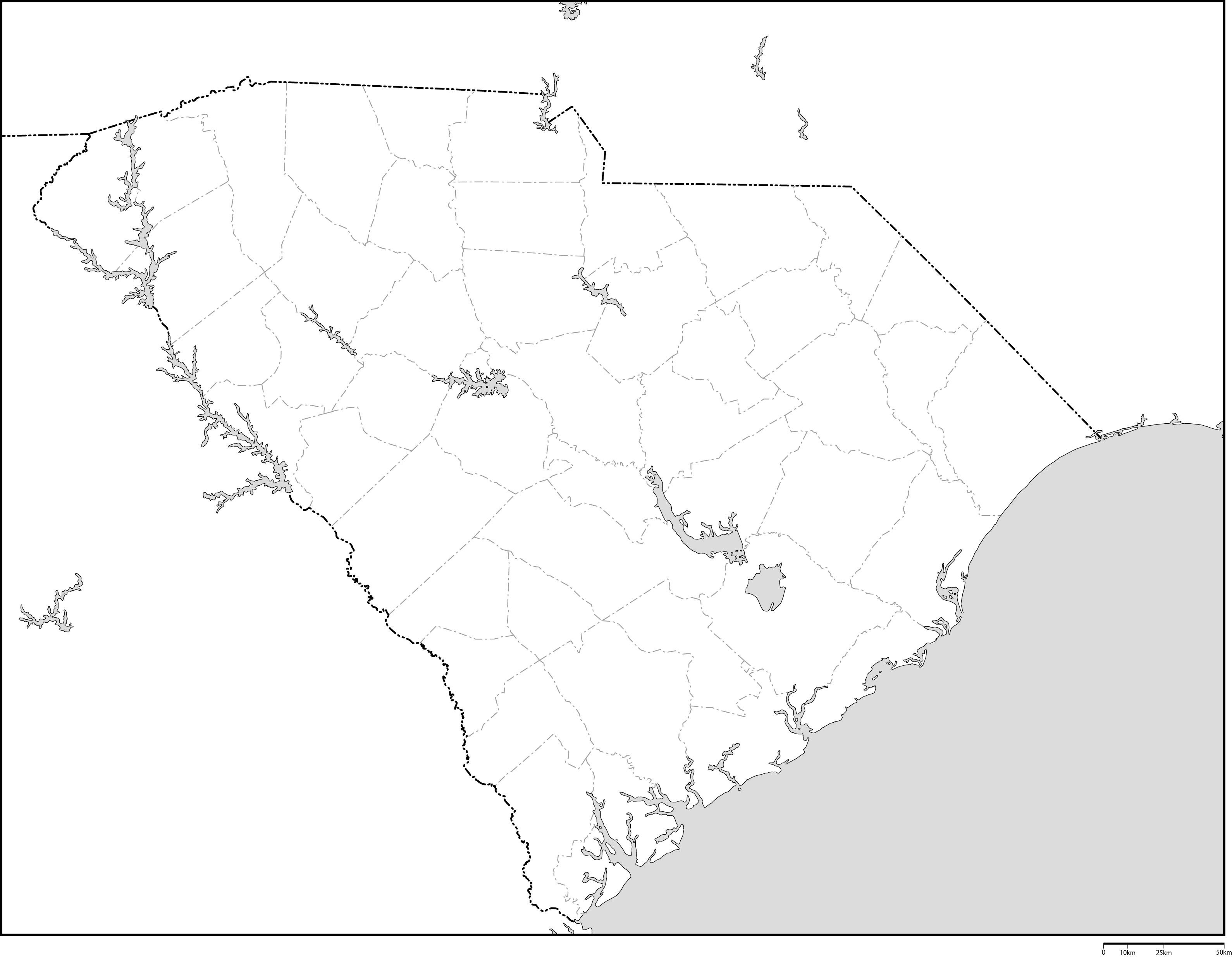 サウスカロライナ州郡分け白地図...