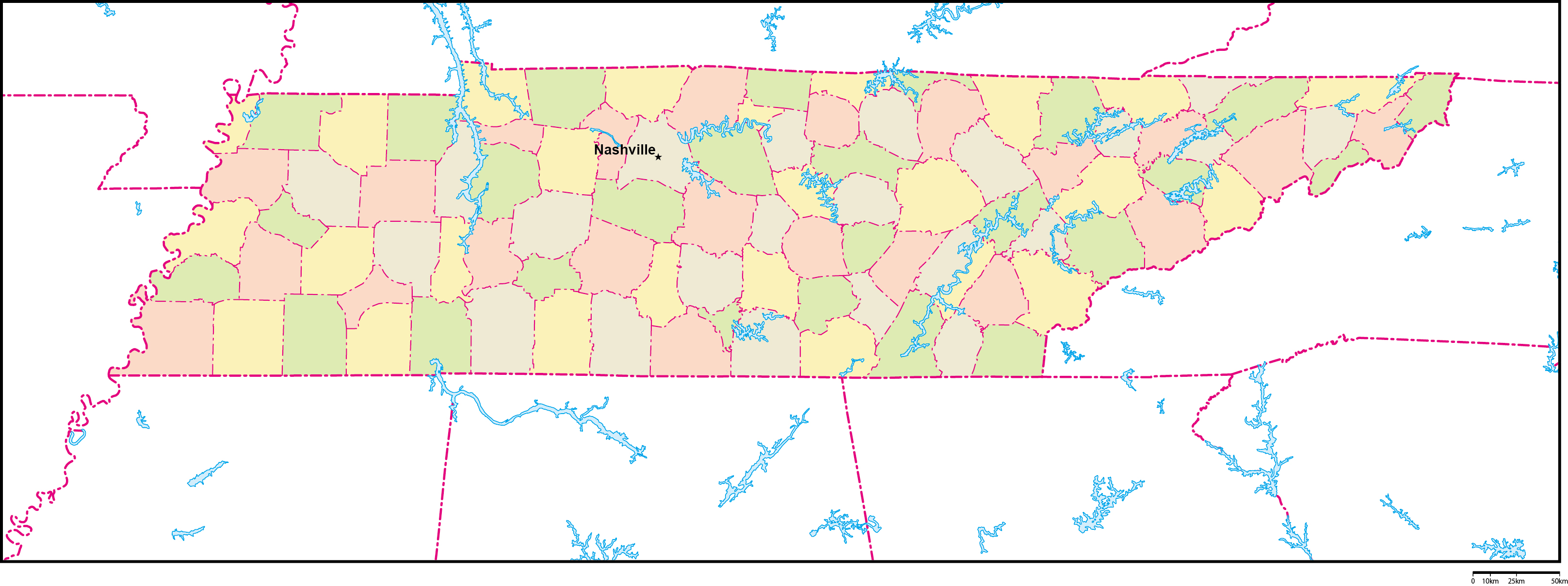 テネシー州郡色分け地図州都あり...