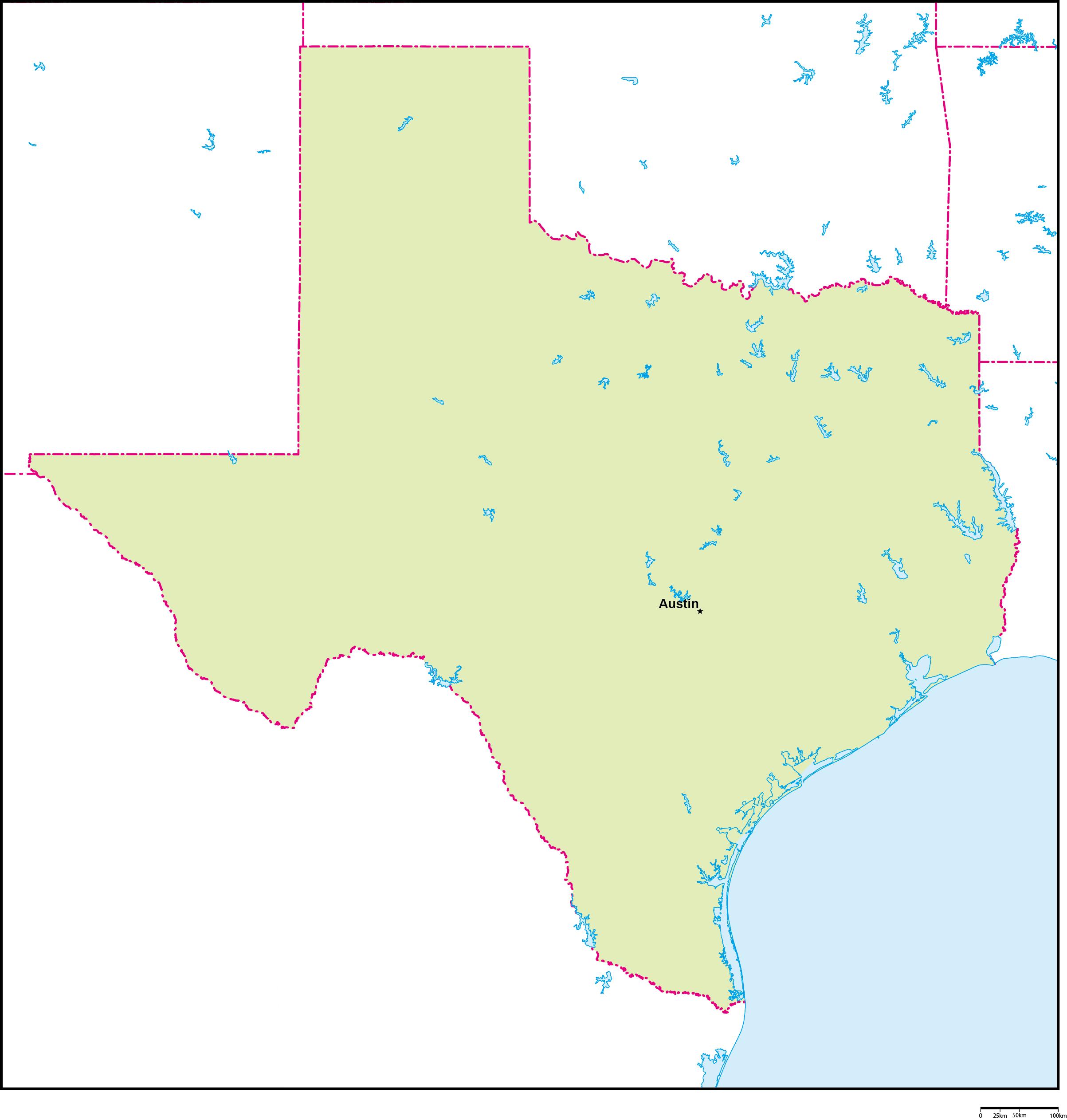 テキサス州地図州都あり(英語)フリーデータ