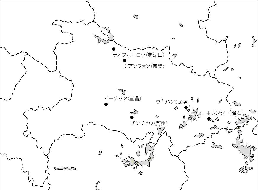 湖北省白地図(主な都市あり)のフリーデータ