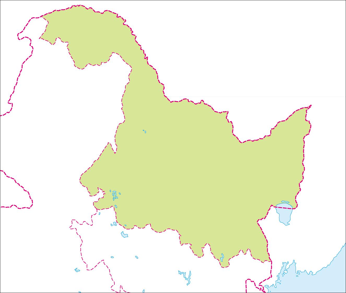 中国の地図・白地図 | 黒竜江省の地図