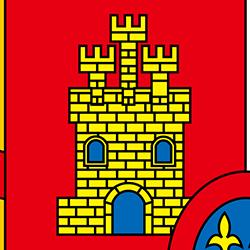 国旗の中の城