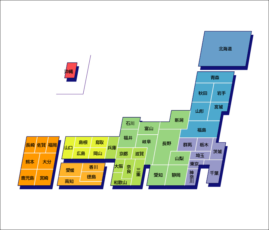 デザイン日本地図のフリー画像 : 日本都道府県地図 : 日本