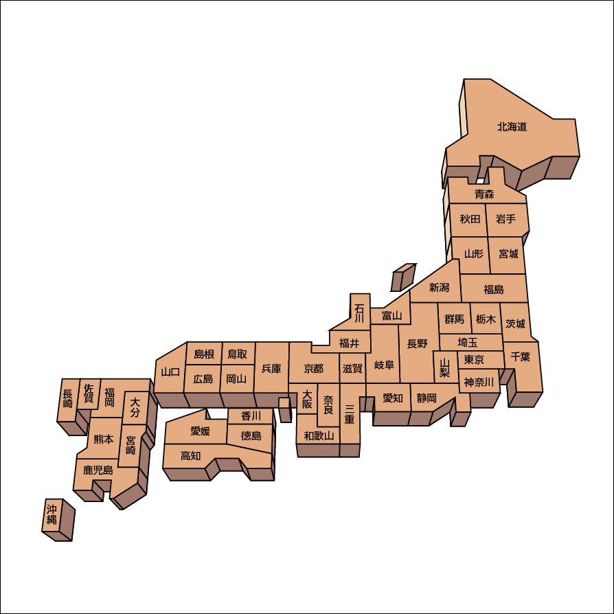 デザイン日本地図のフリー画像
