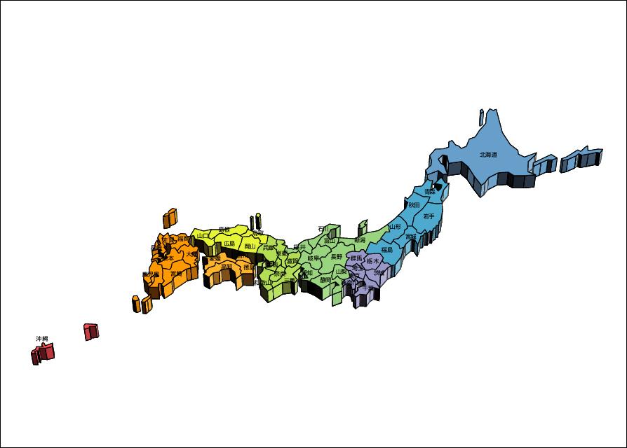 デザイン日本地図53(地域色別 ... : 日本地図 地方別 : 日本