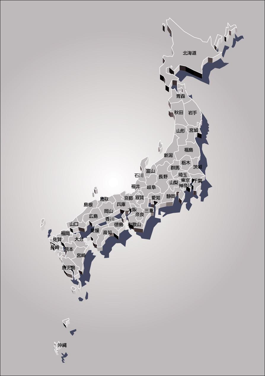 デザイン日本地図(メタル)のフリー画像 デザイン日本地図