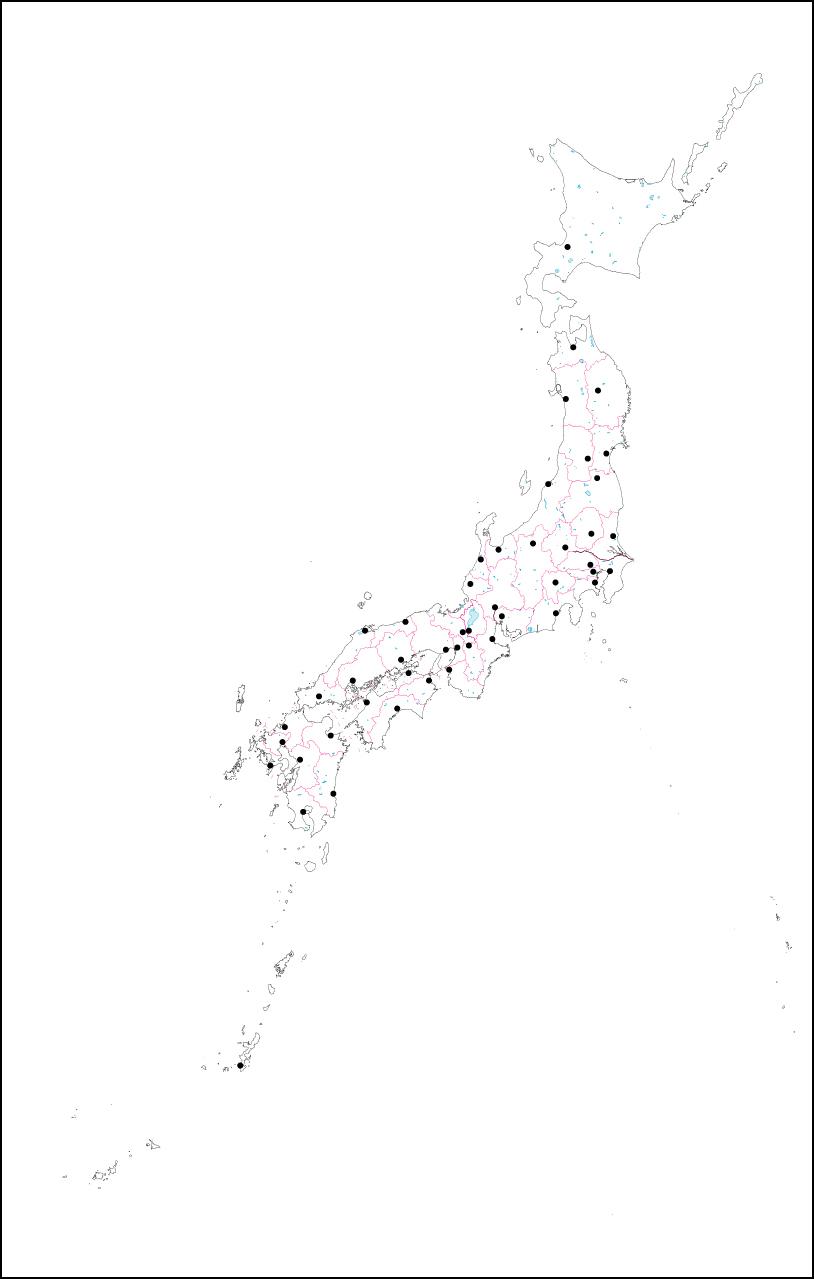 日本 日本の白地図 無料 : 日本の白地図県庁所在地点付き ...
