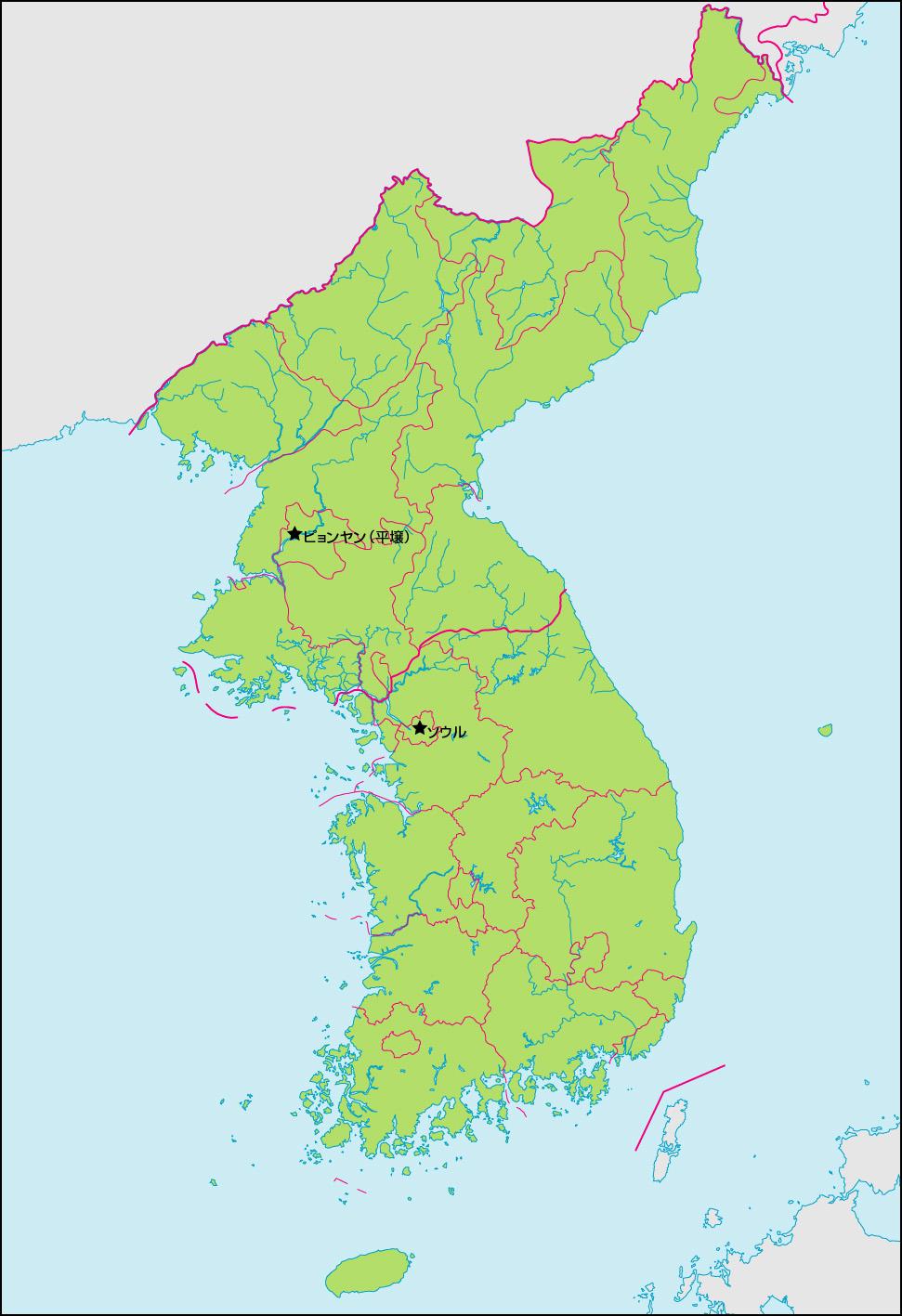 朝鮮半島地図(行政区分・首都・国境記載)の画像 行政区分・首都・国境記載