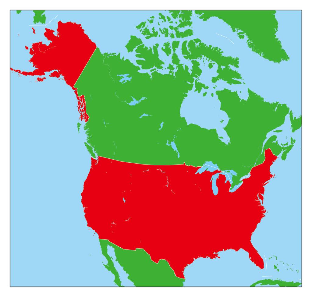 アメリカ合衆国地図-赤