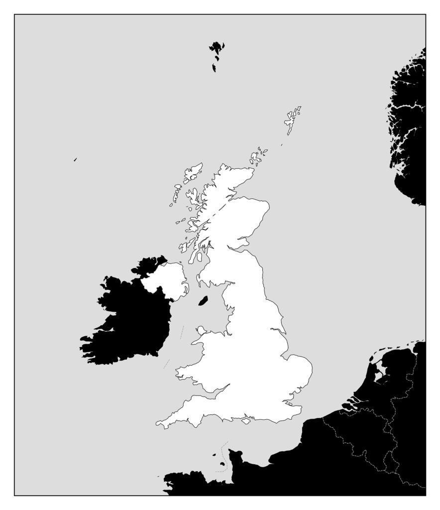 イギリス地図-モノクロ