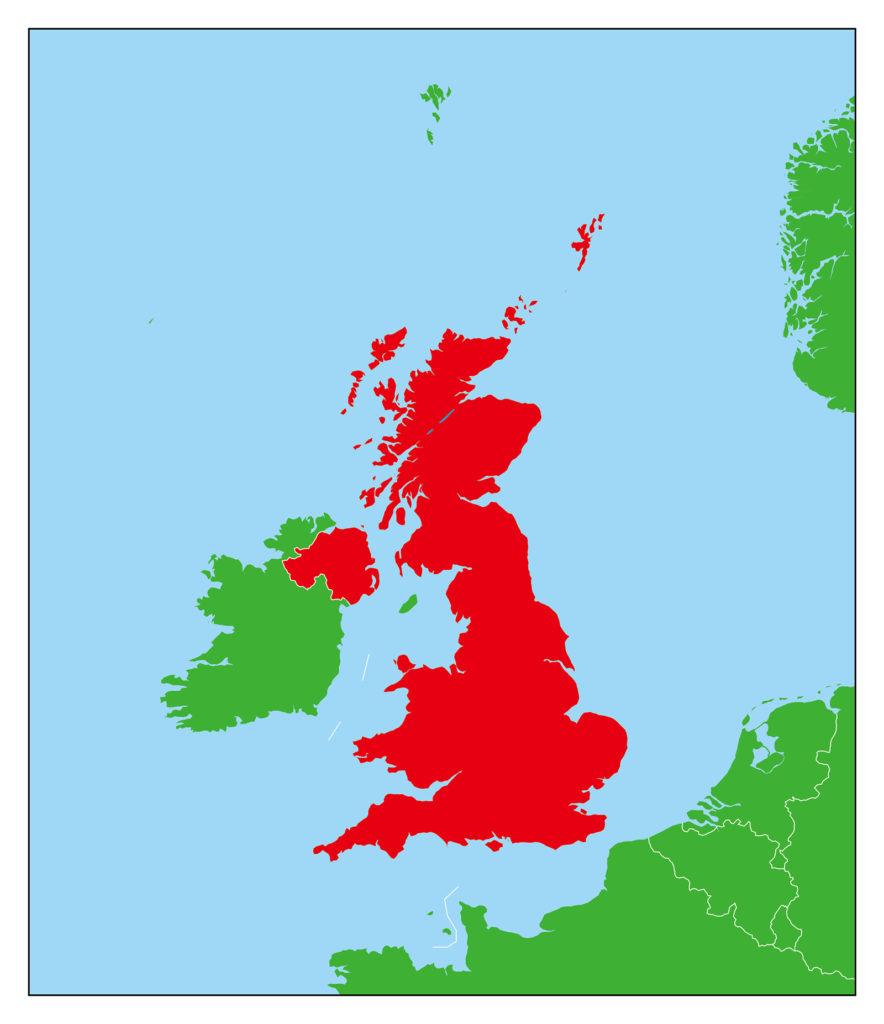 イギリス地図-赤