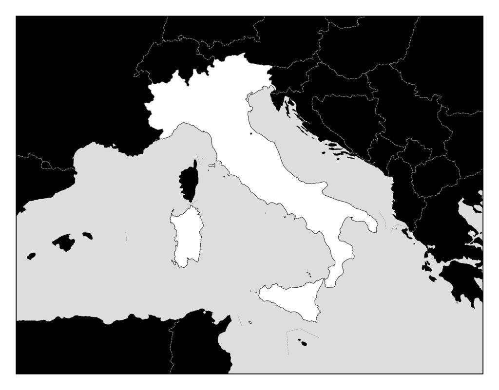 イタリア地図-モノクロ