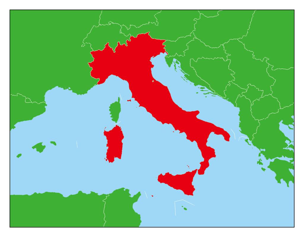 イタリアのフリー素材地図   世界地図