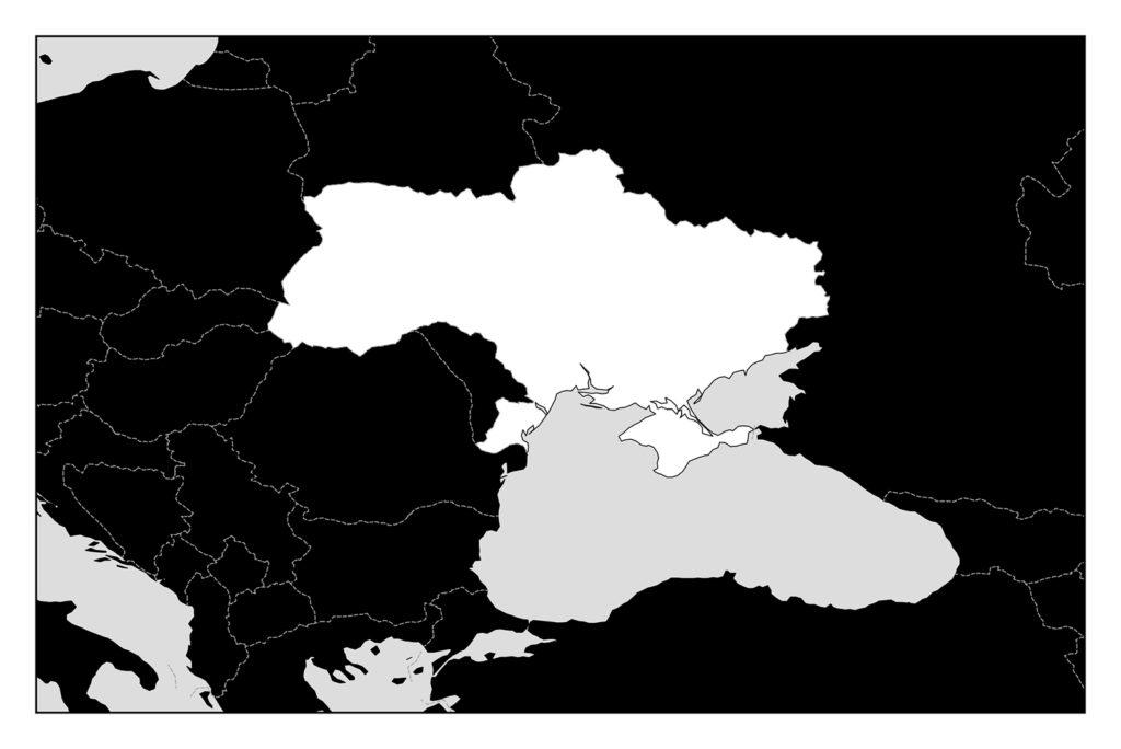 ウクライナ地図-モノクロ
