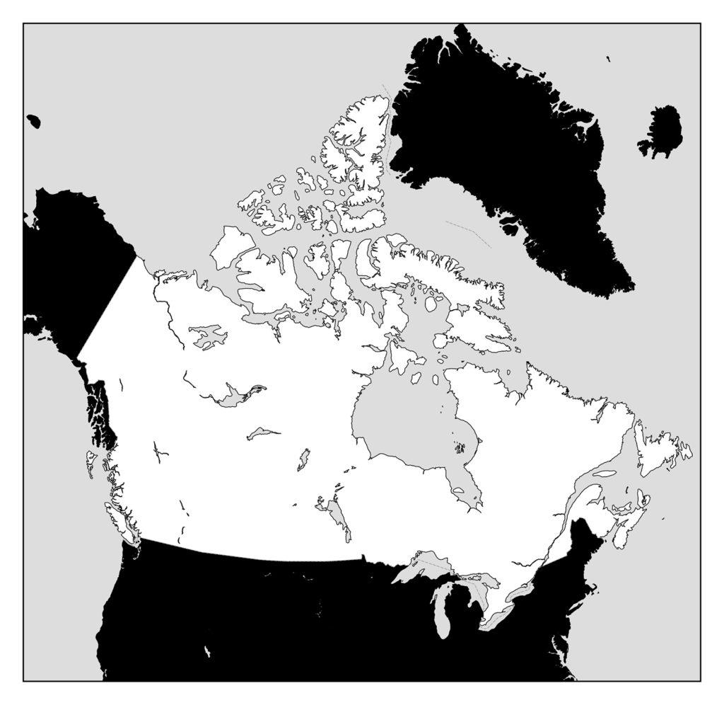カナダ地図-モノクロ