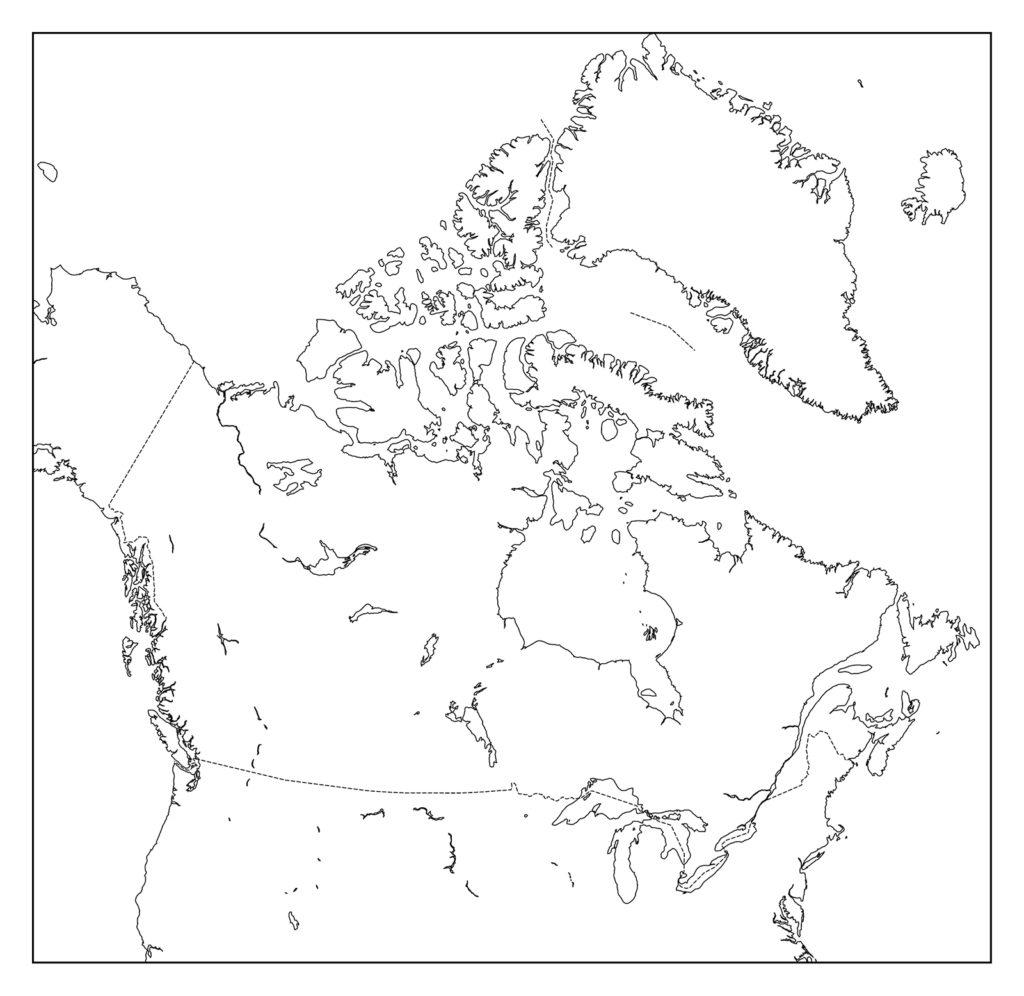 カナダ白地図