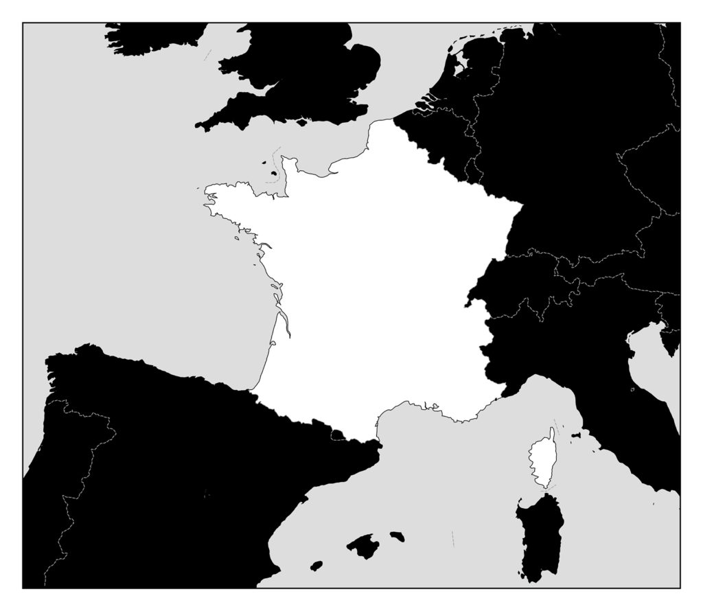 フランス地図-モノクロ