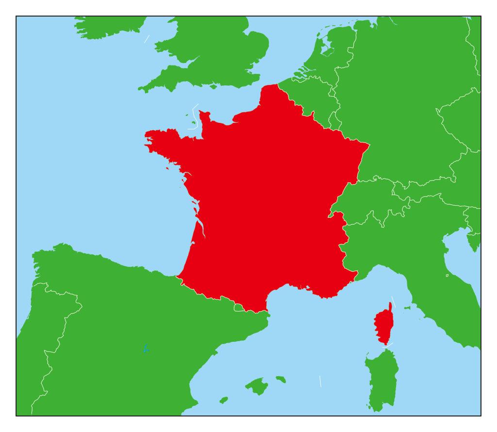 フランス地図-赤