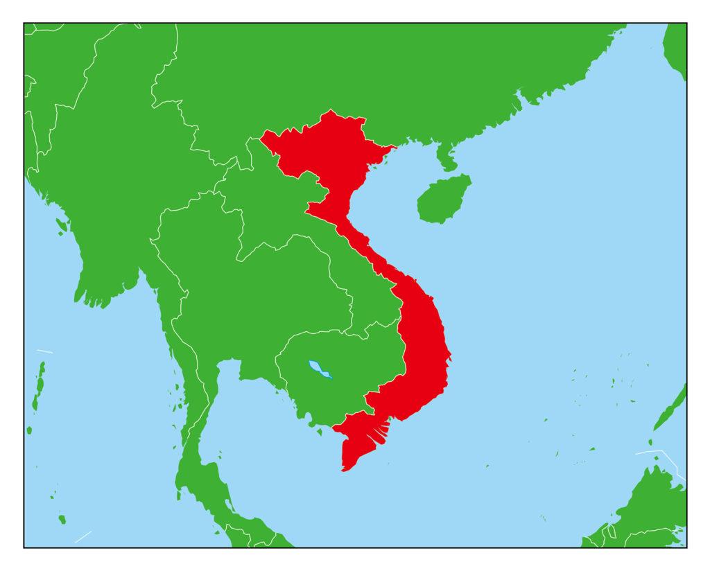 ベトナムのフリー素材地図 | 世界地図