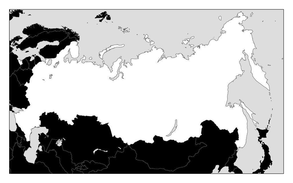 ロシア地図-モノクロ