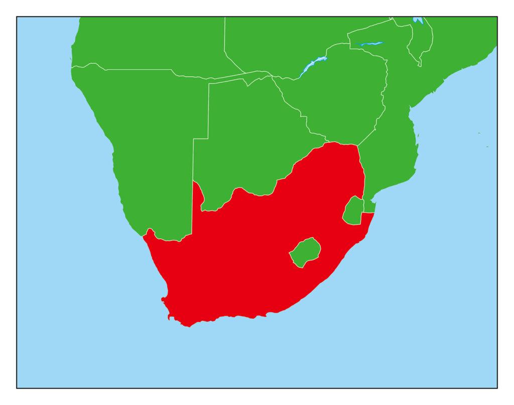 南アフリカ地図-赤