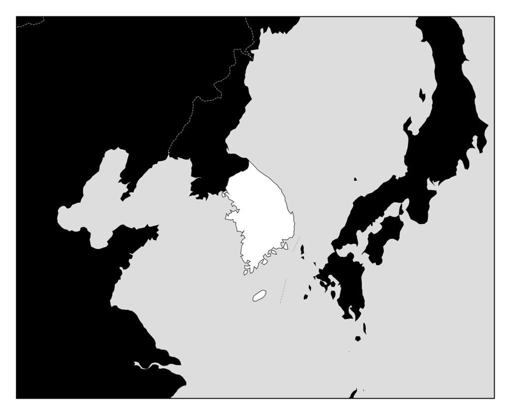 韓国地図-モノクロ
