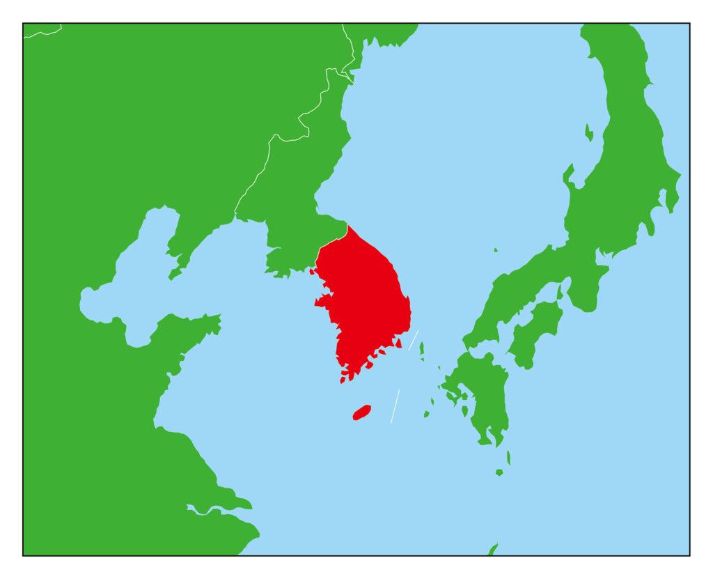 韓国地図-赤