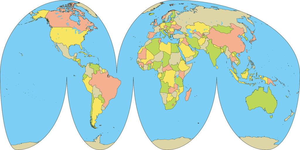 世界地図-グード図法-国別-海