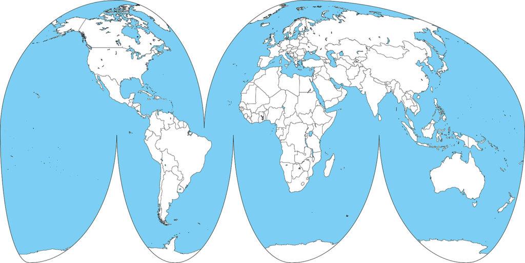 世界地図-グード図法-白地図-国境あり-海