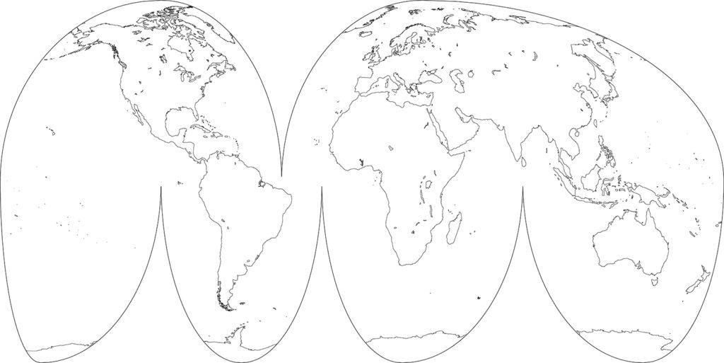 世界地図-グード図法-白地図-国境なし