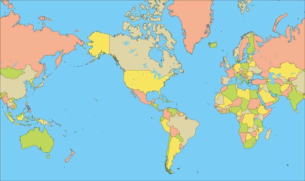 世界地図-ミラー図法am-国別-海