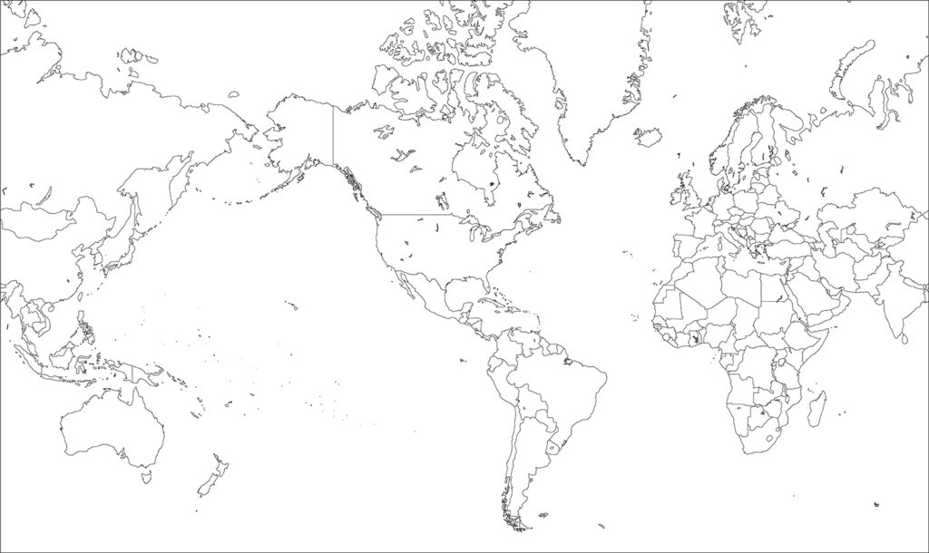 世界地図-ミラー図法am-白地図-国境あり