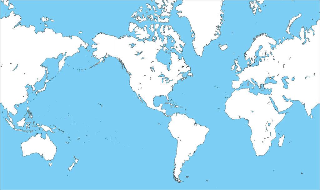 世界地図-ミラー図法am-白地図-国境あり-海