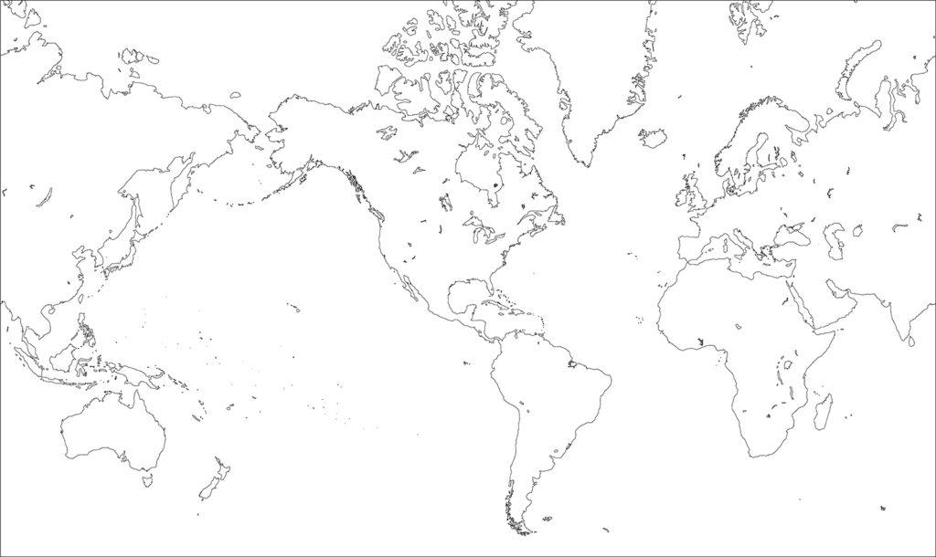 世界地図-ミラー図法am-白地図-国境なし