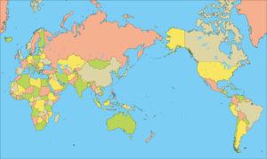 世界地図-ミラー図法as-国別-海