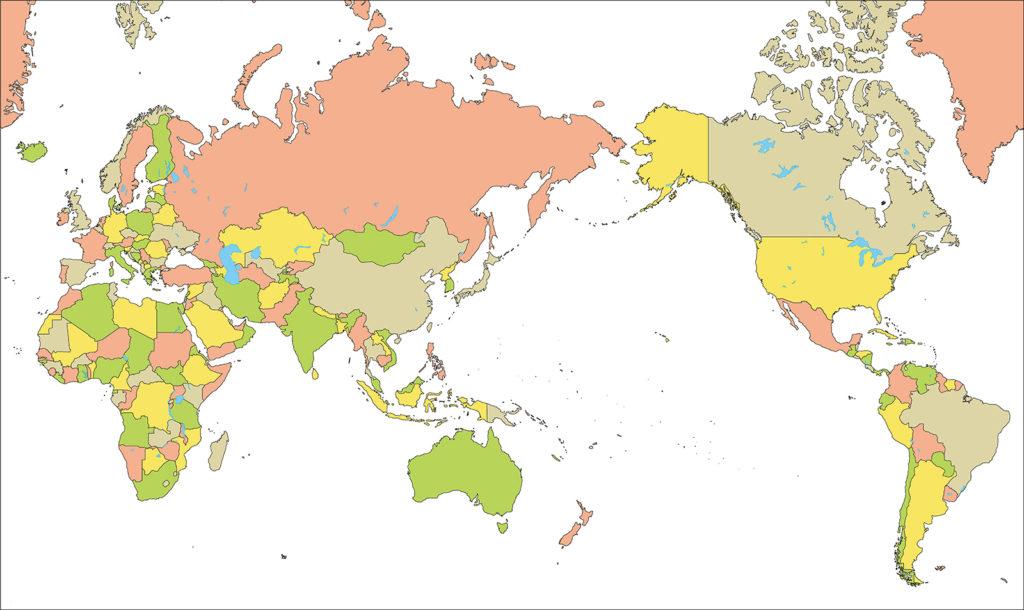 世界地図-ミラー図法as-国別