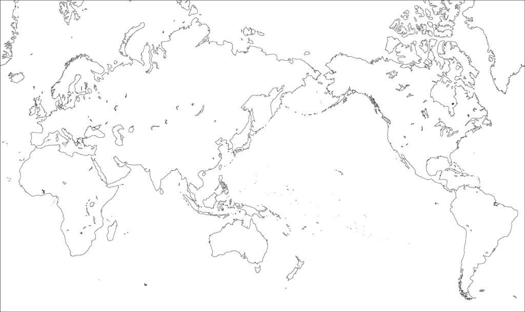 世界地図-ミラー図法as-白地図-国境なし
